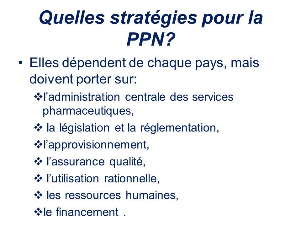 Quelles stratégies pour la PPN? Elles dépendent de chaque pays, mais doivent porter sur: ladministration centrale des services pharmaceutiques, la lég