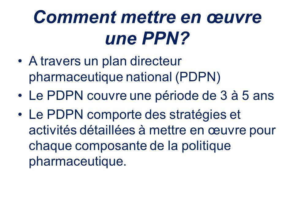 Comment mettre en œuvre une PPN? A travers un plan directeur pharmaceutique national (PDPN) Le PDPN couvre une période de 3 à 5 ans Le PDPN comporte d