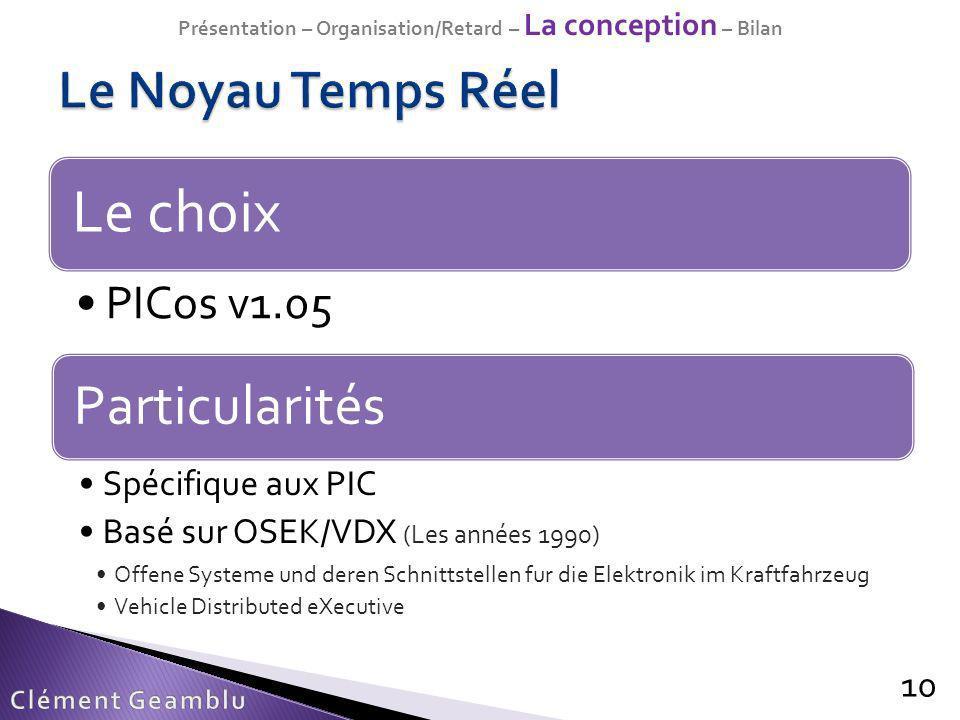 Le choix PICos v1.05 10 Particularités Spécifique aux PIC Basé sur OSEK/VDX (Les années 1990) Offene Systeme und deren Schnittstellen fur die Elektron