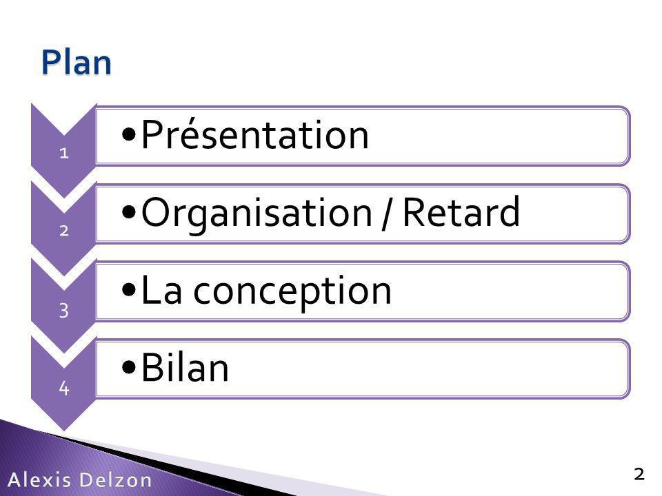 Récupère une image de la position 33 Programme: 1 ere Fonction int calcul_acceleration (void){ ADCON1bits.SAMP = 0;// start conversion while(ADCON1bits.DONE);// attend la fin return ADCBUF3; } Présentation – Organisation/Retard – La conception – Bilan