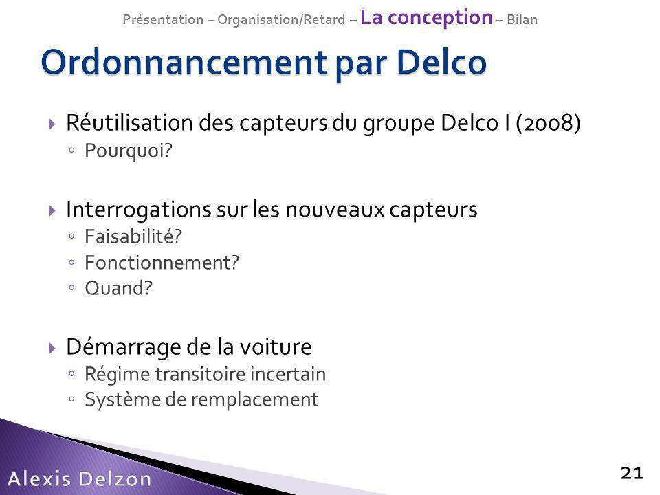 Réutilisation des capteurs du groupe Delco I (2008) Pourquoi? Interrogations sur les nouveaux capteurs Faisabilité? Fonctionnement? Quand? Démarrage d
