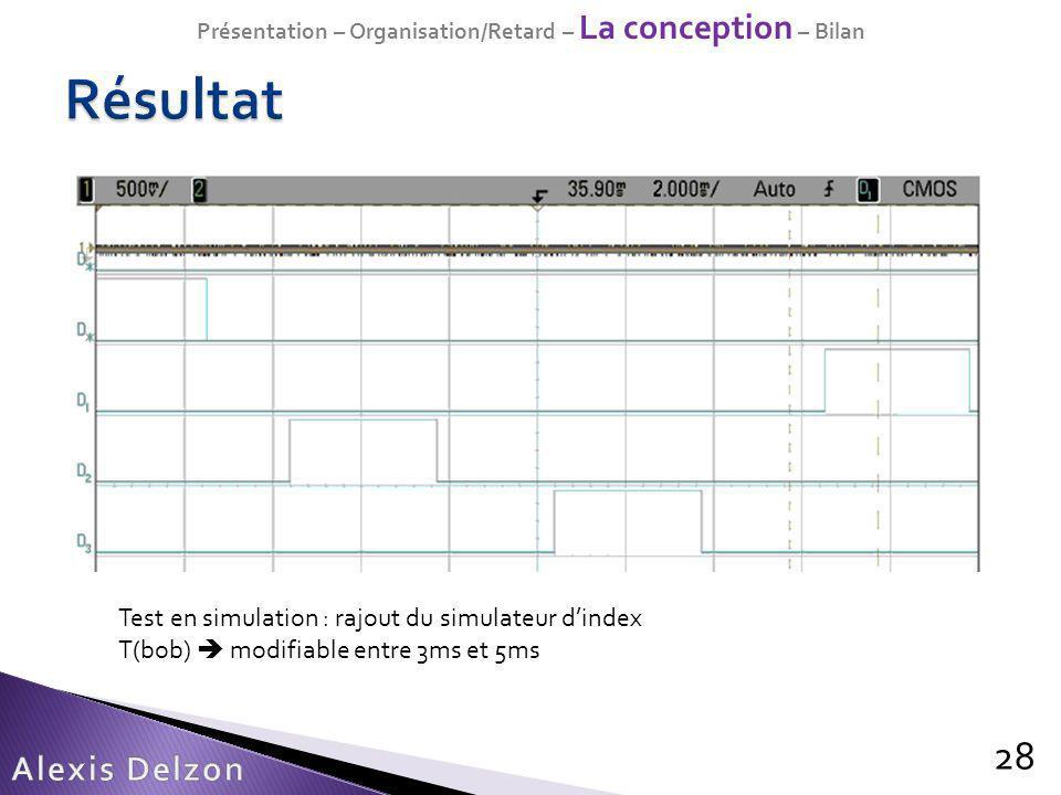 28 Test en simulation : rajout du simulateur dindex T(bob) modifiable entre 3ms et 5ms Présentation – Organisation/Retard – La conception – Bilan