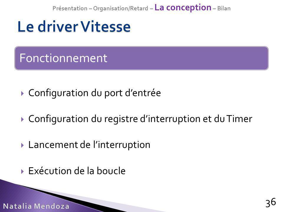 Configuration du port dentrée Configuration du registre dinterruption et du Timer Lancement de linterruption Exécution de la boucle 36 Fonctionnement