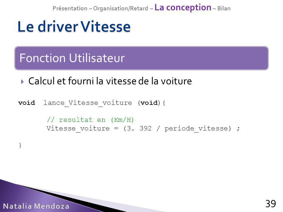 Calcul et fourni la vitesse de la voiture 39 Fonction Utilisateur void lance_Vitesse_voiture (void){ // resultat en (Km/H) Vitesse_voiture = (3. 392 /