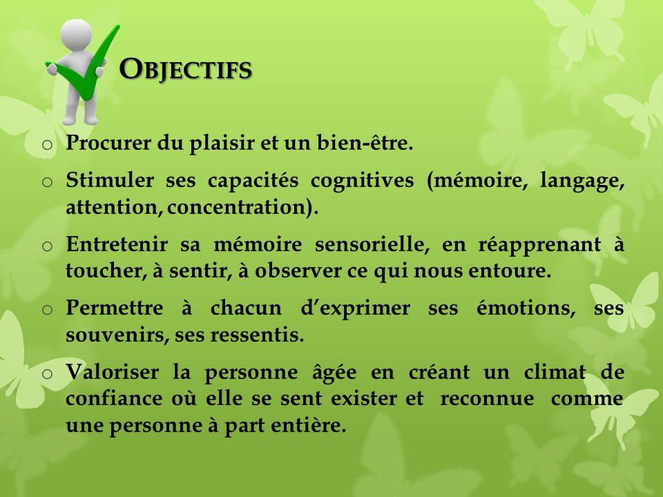 O BJECTIFS O BJECTIFS o Procurer du plaisir et un bien-être. o Stimuler ses capacités cognitives (mémoire, langage, attention, concentration). o Entre