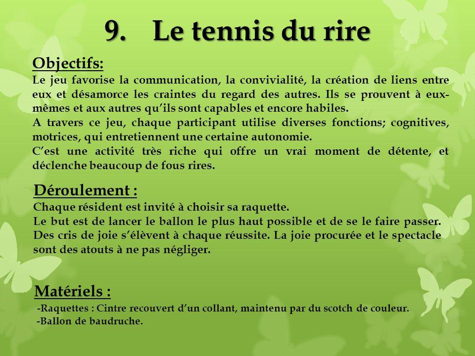 9.Le tennis du rire Matériels : -Raquettes : Cintre recouvert dun collant, maintenu par du scotch de couleur. -Ballon de baudruche. Objectifs: Le jeu