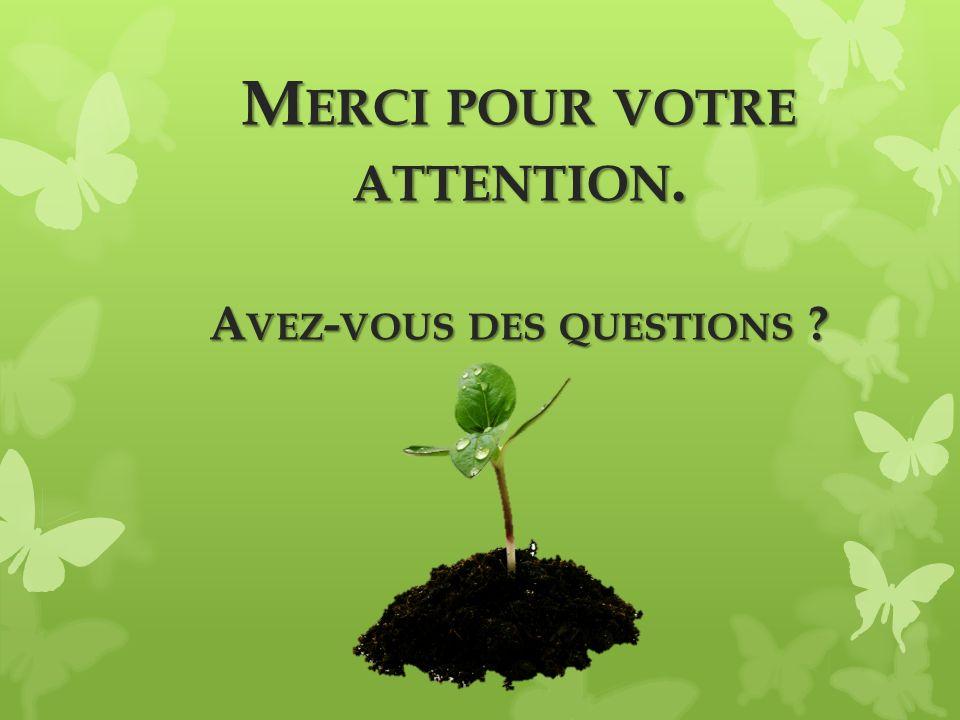 M ERCI POUR VOTRE ATTENTION. A VEZ - VOUS DES QUESTIONS ?