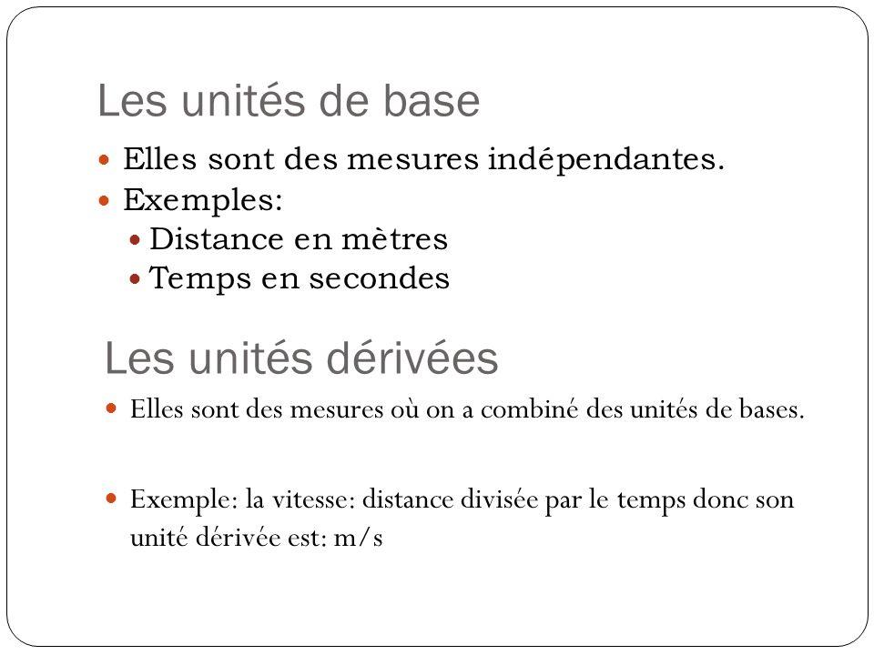 Les unités de base Elles sont des mesures indépendantes. Exemples: Distance en mètres Temps en secondes Les unités dérivées Elles sont des mesures où