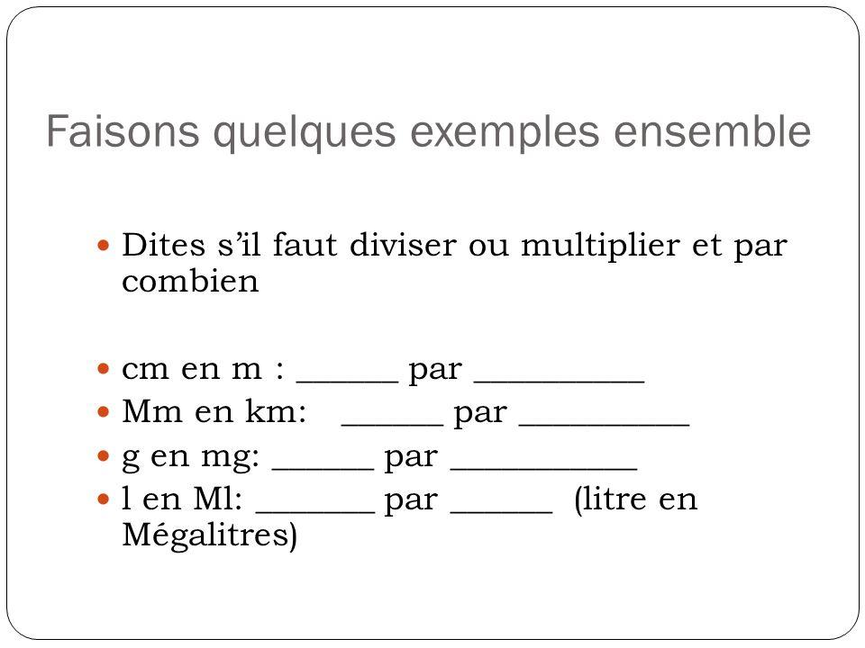 Faisons quelques exemples ensemble Dites sil faut diviser ou multiplier et par combien cm en m : ______ par __________ Mm en km: ______ par __________
