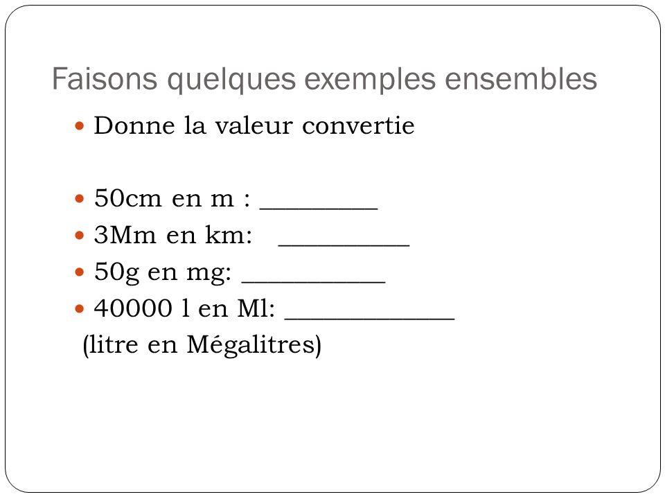 Faisons quelques exemples ensembles Donne la valeur convertie 50cm en m : _________ 3Mm en km: __________ 50g en mg: ___________ 40000 l en Ml: ______