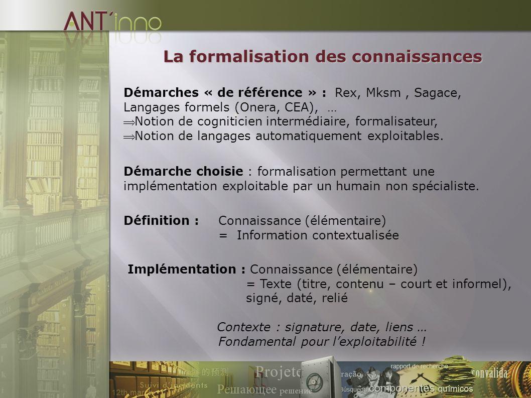 Démarches « de référence » : Rex, Mksm, Sagace, Langages formels (Onera, CEA), … Notion de cogniticien intermédiaire, formalisateur, Notion de langages automatiquement exploitables.