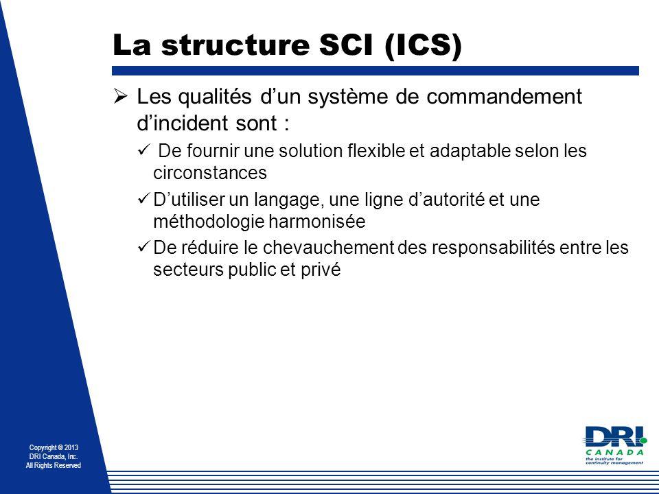 Copyright © 2013 DRI Canada, Inc. All Rights Reserved La structure SCI (ICS) Les qualités dun système de commandement dincident sont : De fournir une