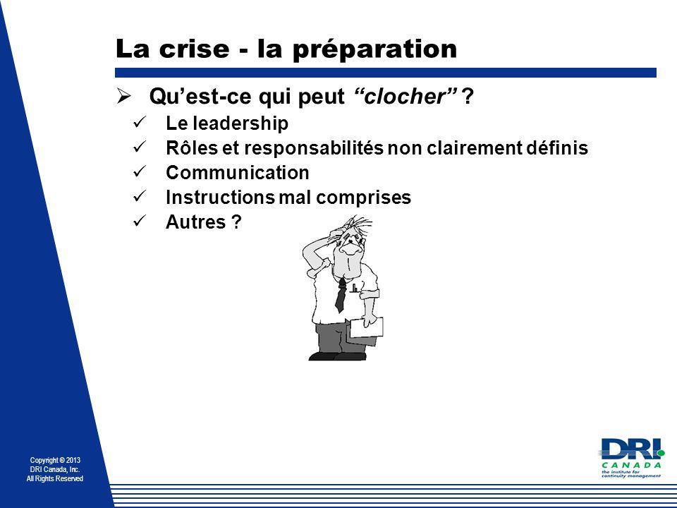 Copyright © 2013 DRI Canada, Inc. All Rights Reserved La crise - la préparation Quest-ce qui peut clocher ? Le leadership Rôles et responsabilités non