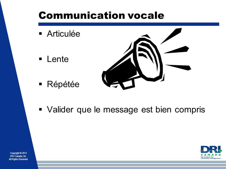Copyright © 2013 DRI Canada, Inc. All Rights Reserved Communication vocale Articulée Lente Répétée Valider que le message est bien compris