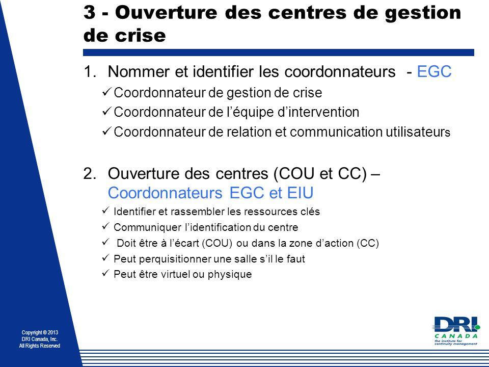 Copyright © 2013 DRI Canada, Inc. All Rights Reserved 3 - Ouverture des centres de gestion de crise 1.Nommer et identifier les coordonnateurs - EGC Co