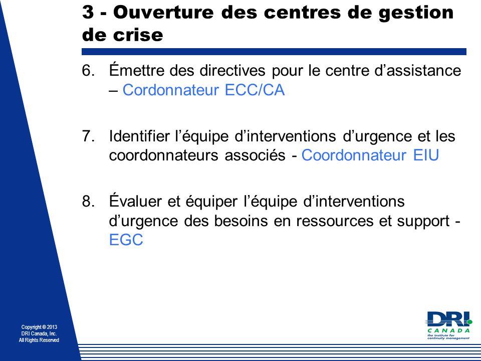 Copyright © 2013 DRI Canada, Inc. All Rights Reserved 3 - Ouverture des centres de gestion de crise 6.Émettre des directives pour le centre dassistanc