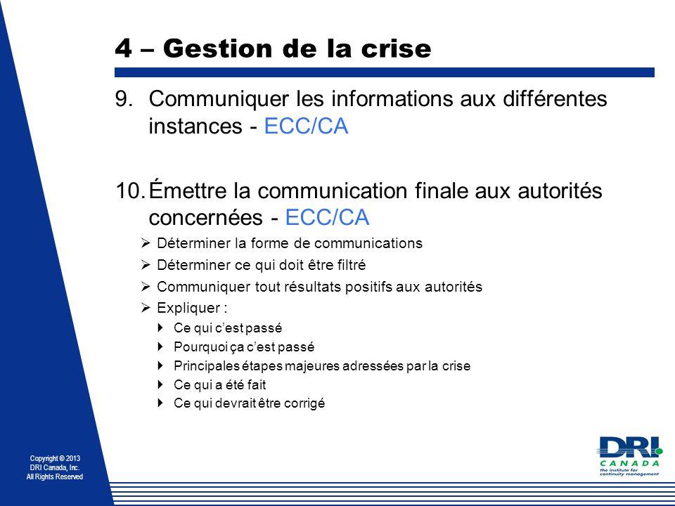 Copyright © 2013 DRI Canada, Inc. All Rights Reserved 4 – Gestion de la crise 9.Communiquer les informations aux différentes instances - ECC/CA 10.Éme
