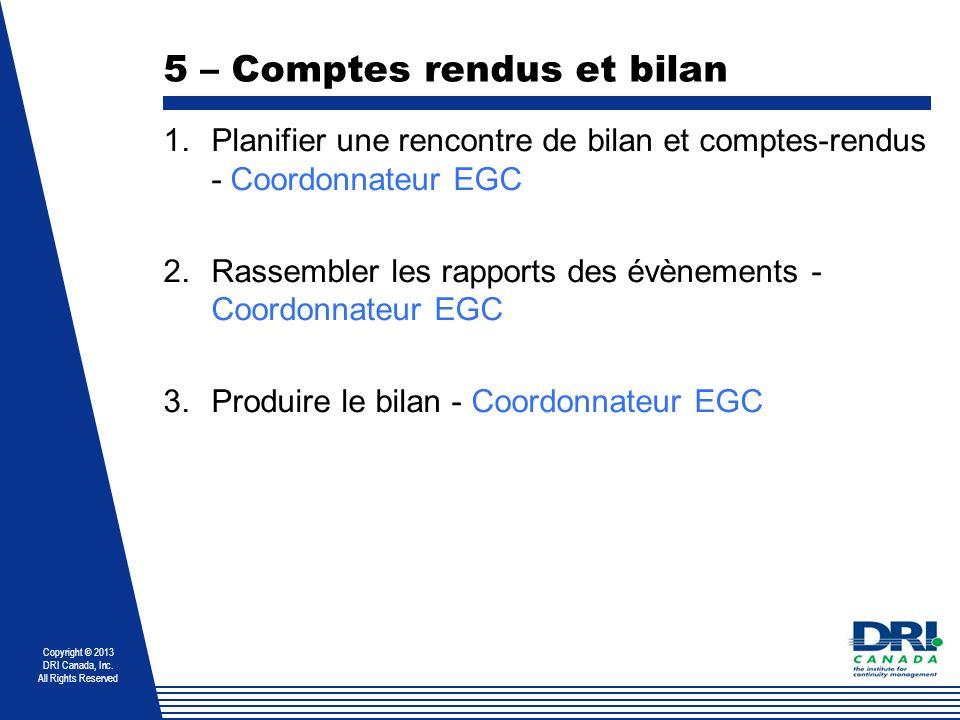 Copyright © 2013 DRI Canada, Inc. All Rights Reserved 5 – Comptes rendus et bilan 1.Planifier une rencontre de bilan et comptes-rendus - Coordonnateur