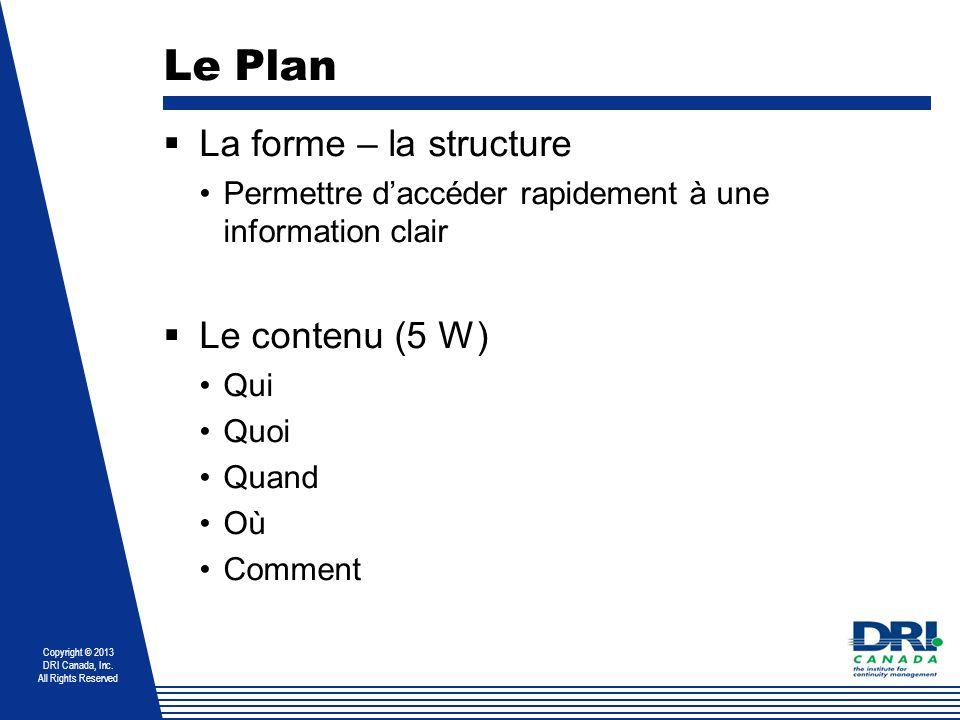 Copyright © 2013 DRI Canada, Inc. All Rights Reserved Le Plan La forme – la structure Permettre daccéder rapidement à une information clair Le contenu