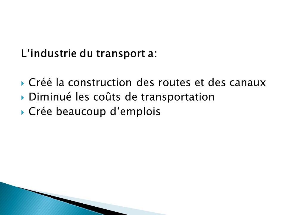 Lindustrie du transport a: Créé la construction des routes et des canaux Diminué les coûts de transportation Crée beaucoup demplois