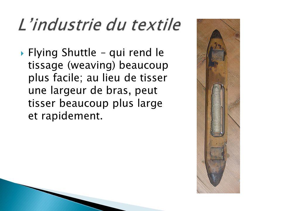 Spinning Jenny – qui réduit le temps nécessaire pour faire du fil textile (yarn); un travailleur peut faire 8 bobines en même temps.