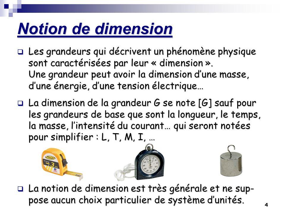 4 Notion de dimension Les grandeurs qui décrivent un phénomène physique sont caractérisées par leur « dimension ». Une grandeur peut avoir la dimensio