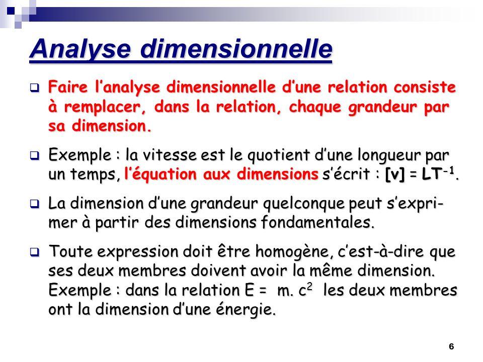 6 Analyse dimensionnelle Faire lanalyse dimensionnelle dune relation consiste à remplacer, dans la relation, chaque grandeur par sa dimension. Exemple