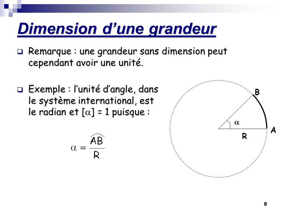8 Dimension dune grandeur Remarque : une grandeur sans dimension peut cependant avoir une unité. Exemple : lunité dangle, dans le système internationa