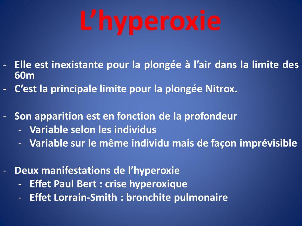 Lhyperoxie -Elle est inexistante pour la plongée à lair dans la limite des 60m -Cest la principale limite pour la plongée Nitrox. -Son apparition est