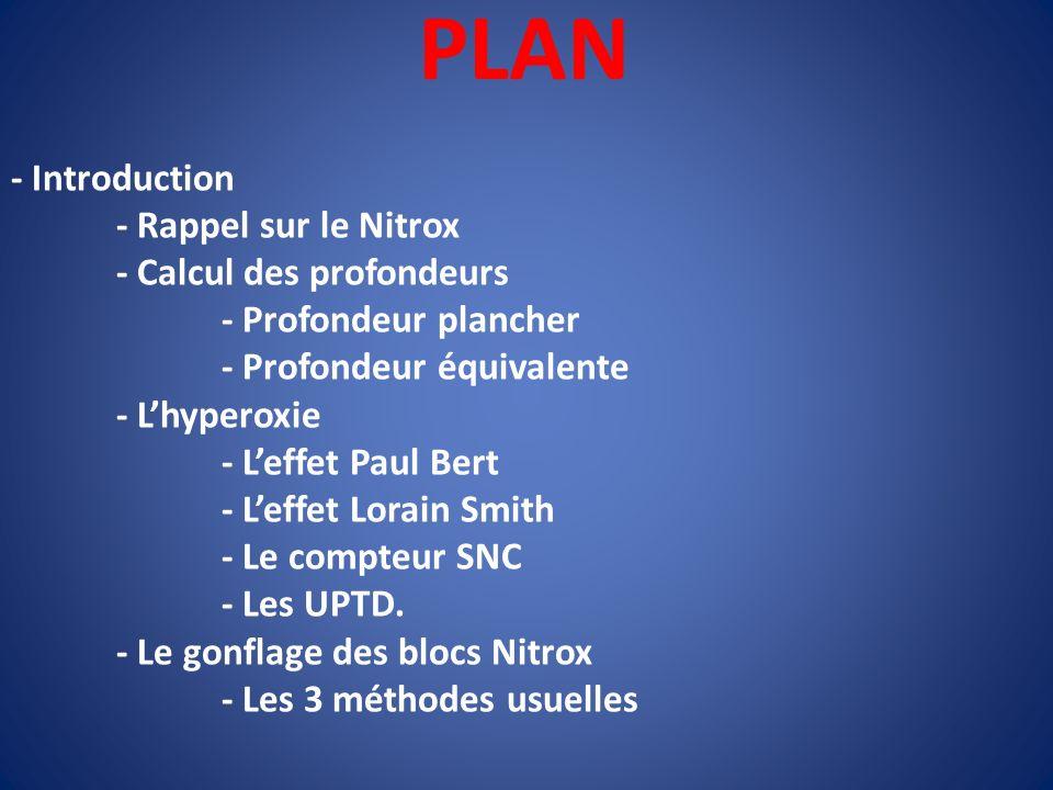 PLAN - Introduction - Rappel sur le Nitrox - Calcul des profondeurs - Profondeur plancher - Profondeur équivalente - Lhyperoxie - Leffet Paul Bert - L