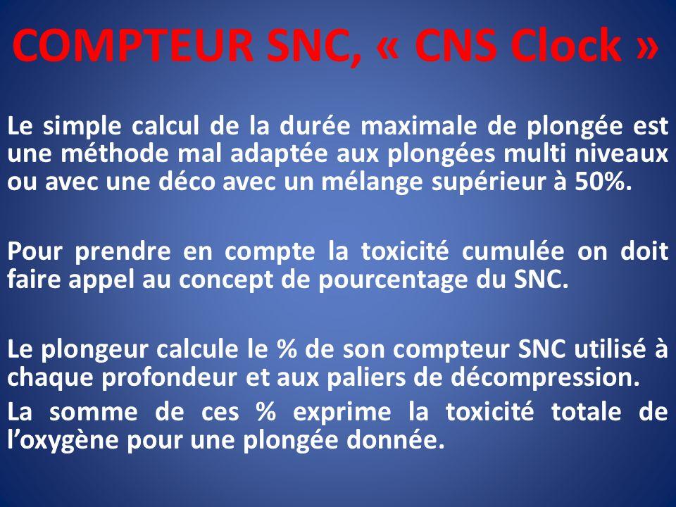 COMPTEUR SNC, « CNS Clock » Le simple calcul de la durée maximale de plongée est une méthode mal adaptée aux plongées multi niveaux ou avec une déco a