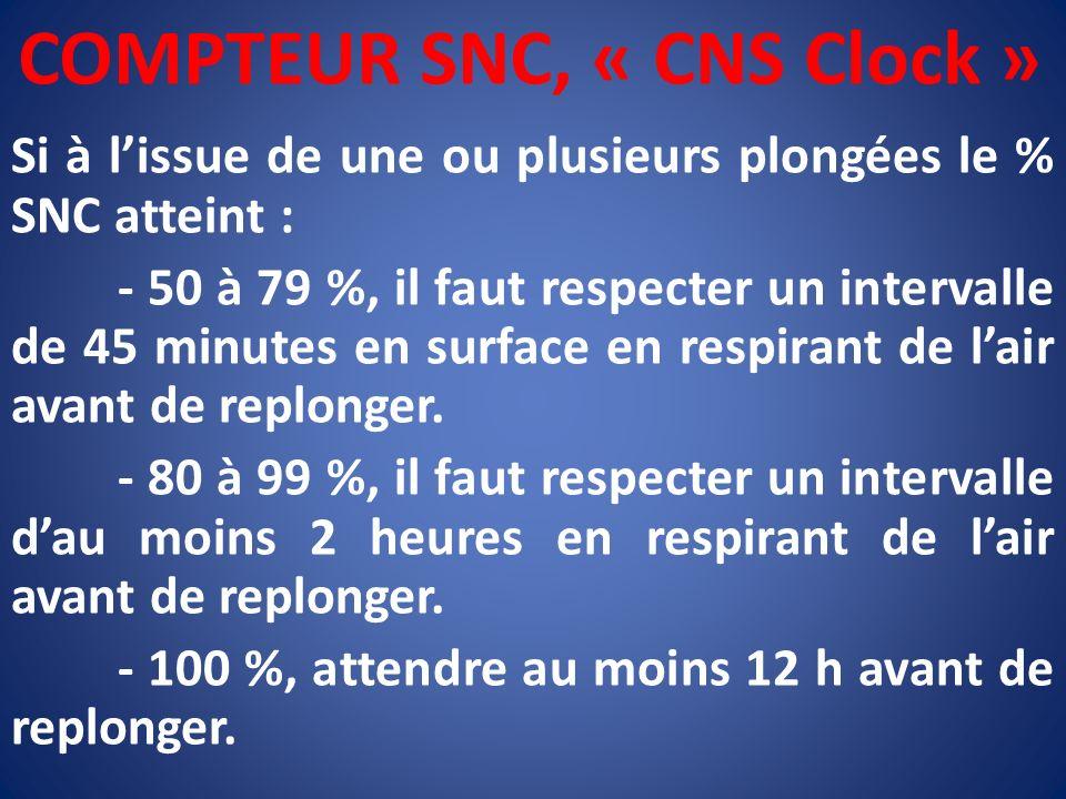 COMPTEUR SNC, « CNS Clock » Si à lissue de une ou plusieurs plongées le % SNC atteint : - 50 à 79 %, il faut respecter un intervalle de 45 minutes en