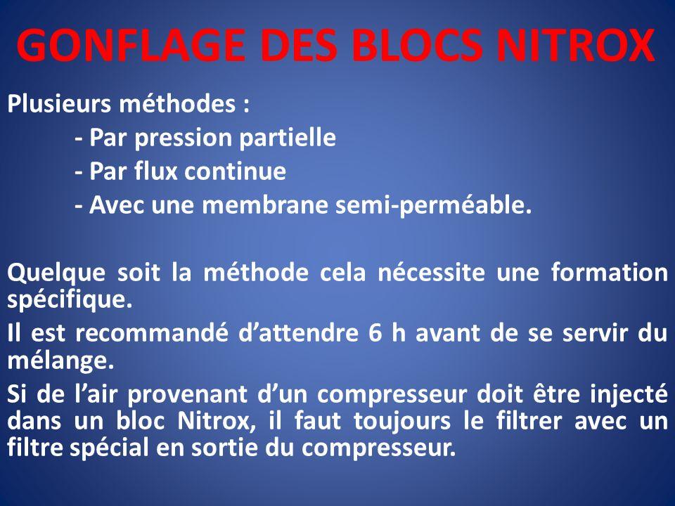 GONFLAGE DES BLOCS NITROX Plusieurs méthodes : - Par pression partielle - Par flux continue - Avec une membrane semi-perméable. Quelque soit la méthod