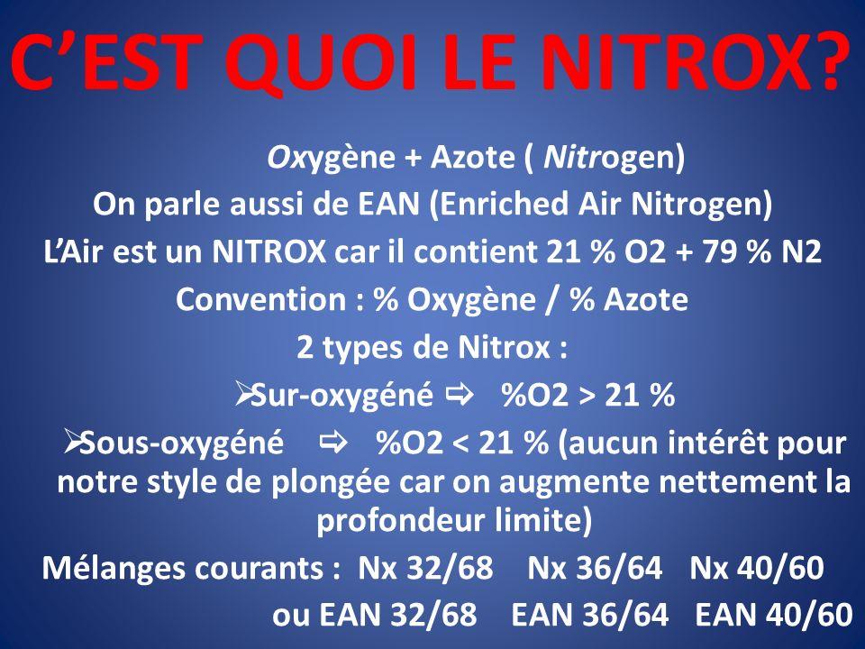 CEST QUOI LE NITROX? Oxygène + Azote ( Nitrogen) On parle aussi de EAN (Enriched Air Nitrogen) LAir est un NITROX car il contient 21 % O2 + 79 % N2 Co