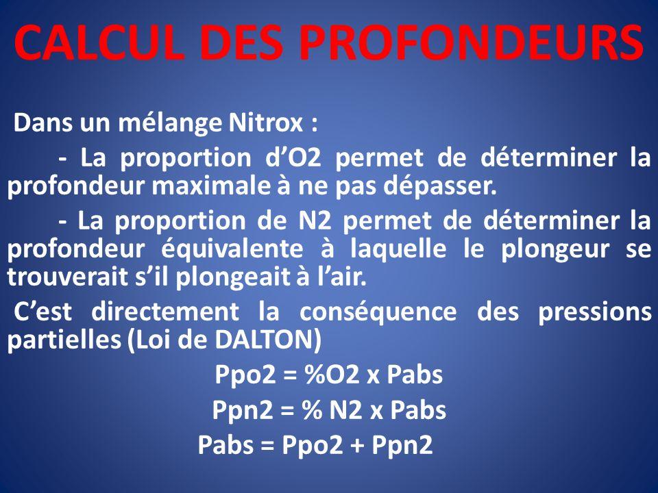 CALCUL DES PROFONDEURS Dans un mélange Nitrox : - La proportion dO2 permet de déterminer la profondeur maximale à ne pas dépasser. - La proportion de