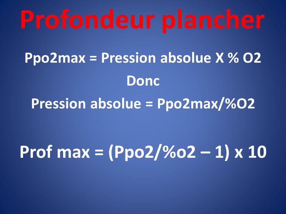 Profondeur plancher Ppo2max = Pression absolue X % O2 Donc Pression absolue = Ppo2max/%O2 Prof max = (Ppo2/%o2 – 1) x 10