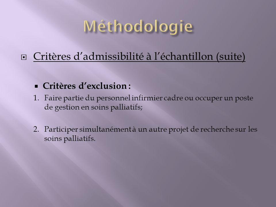 Critères dadmissibilité à léchantillon (suite) Critères dexclusion : 1. Faire partie du personnel infirmier cadre ou occuper un poste de gestion en so