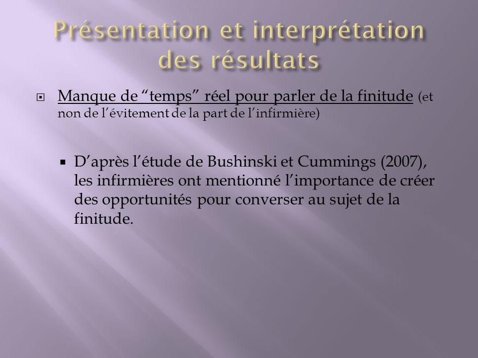 Manque de temps réel pour parler de la finitude (et non de lévitement de la part de linfirmière) Daprès létude de Bushinski et Cummings (2007), les in