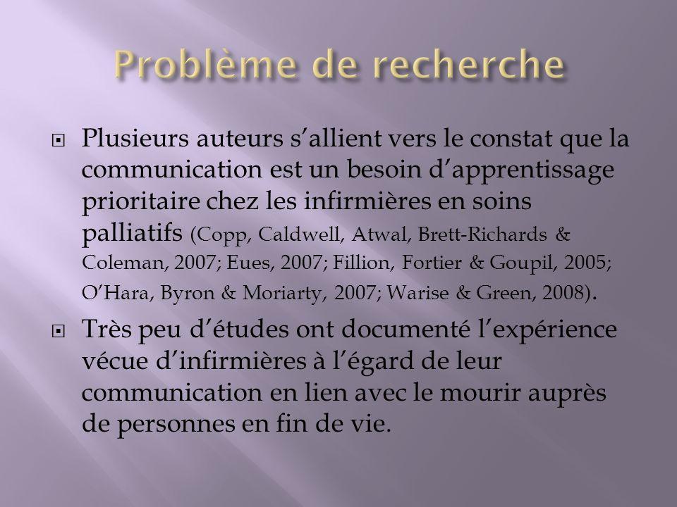 Plusieurs auteurs sallient vers le constat que la communication est un besoin dapprentissage prioritaire chez les infirmières en soins palliatifs (Cop