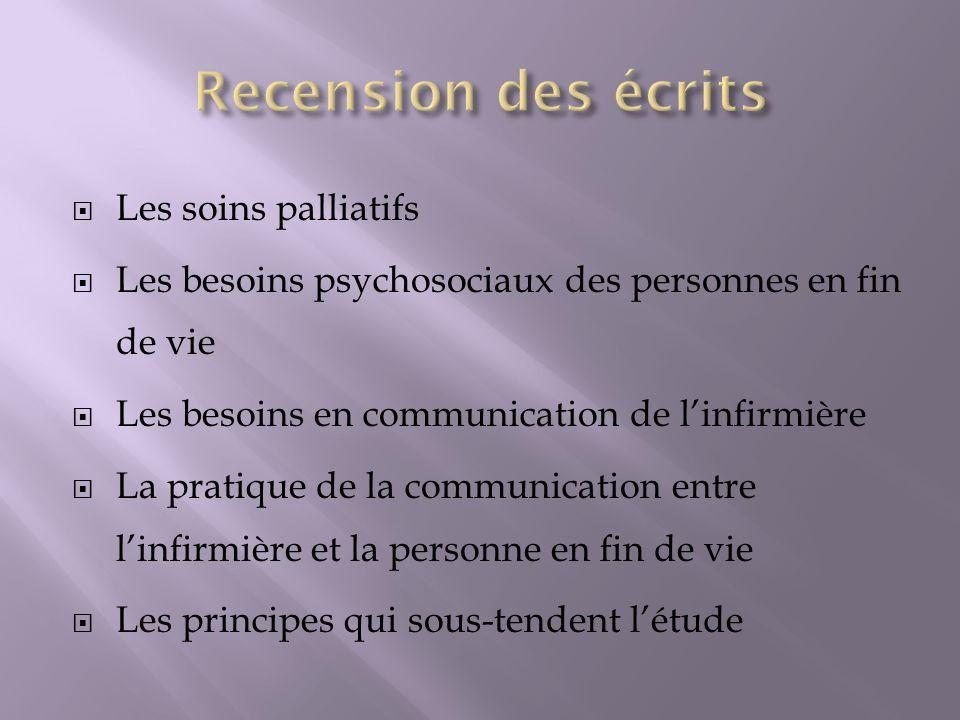 Les soins palliatifs Les besoins psychosociaux des personnes en fin de vie Les besoins en communication de linfirmière La pratique de la communication