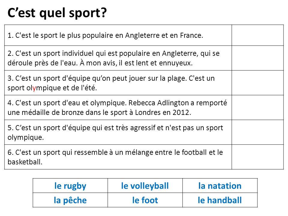 1. C est le sport le plus populaire en Angleterre et en France.