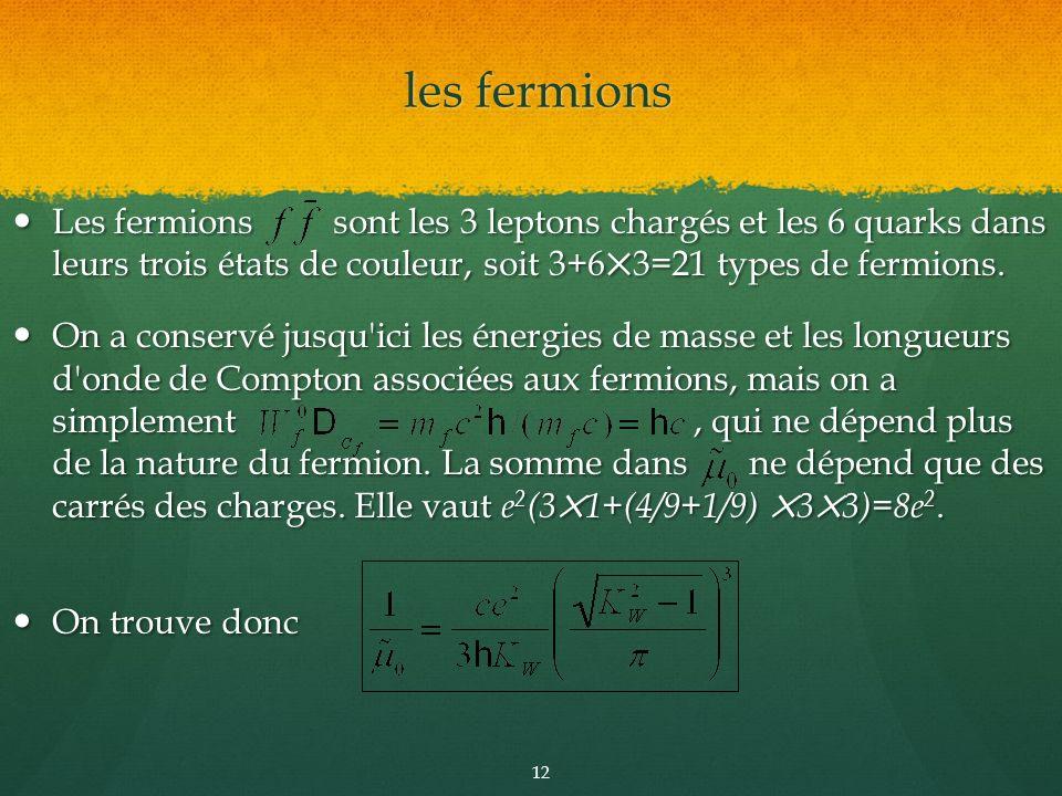 Les fermions sont les 3 leptons chargés et les 6 quarks dans leurs trois états de couleur, soit 3+63=21 types de fermions. Les fermions sont les 3 lep