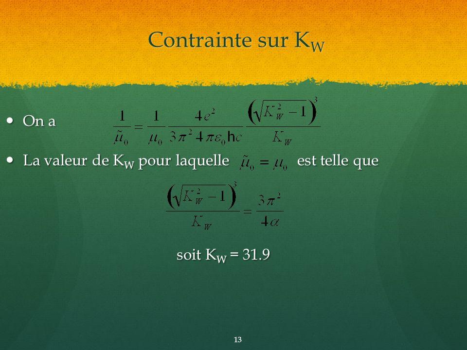 On a On a La valeur de K W pour laquelle est telle que La valeur de K W pour laquelle est telle que soit K W = 31.9 soit K W = 31.9 13 Contrainte sur