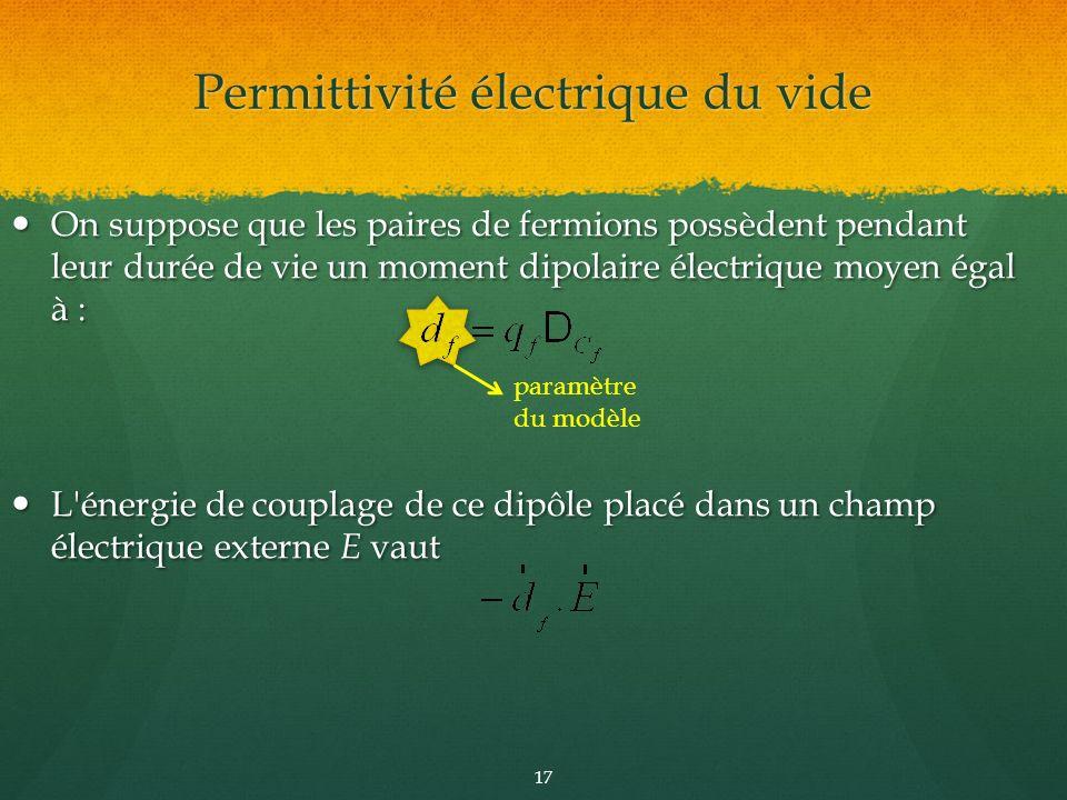paramètre du modèle On suppose que les paires de fermions possèdent pendant leur durée de vie un moment dipolaire électrique moyen égal à : On suppose