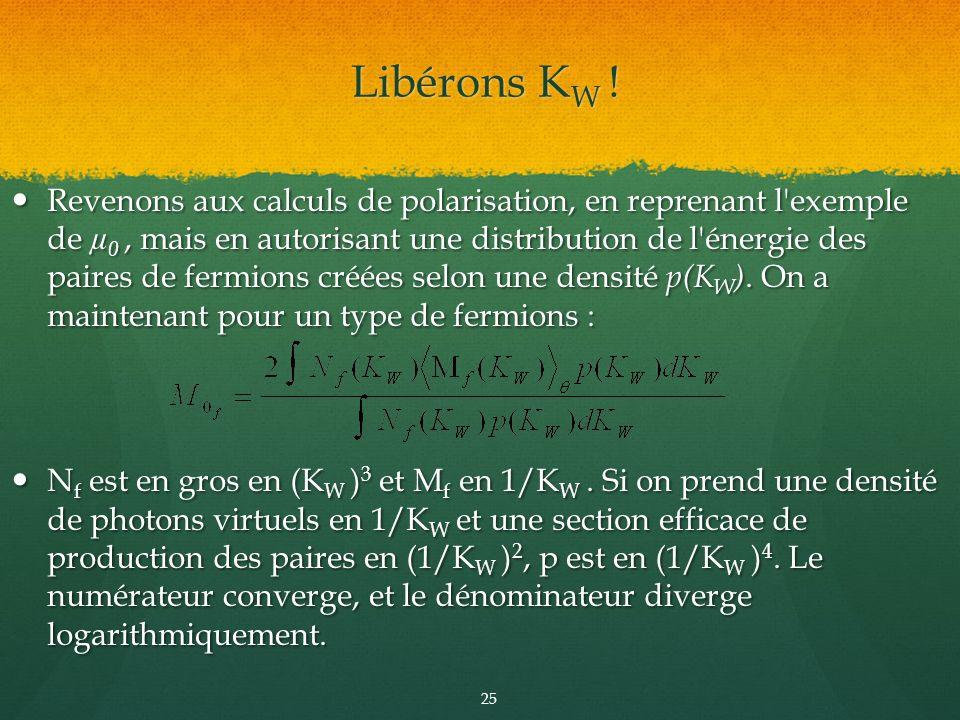 Revenons aux calculs de polarisation, en reprenant l'exemple de µ 0, mais en autorisant une distribution de l'énergie des paires de fermions créées se
