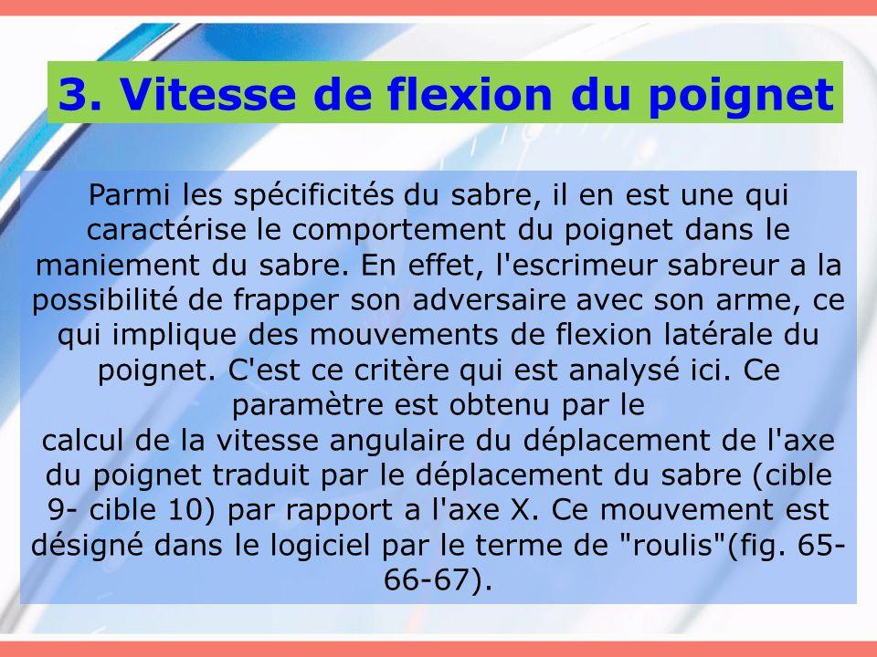 3. Vitesse de flexion du poignet Parmi les spécificités du sabre, il en est une qui caractérise le comportement du poignet dans le maniement du sabre.