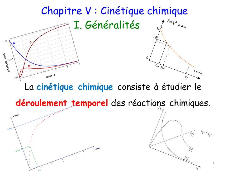 Chapitre V : Cinétique chimique I. Généralités 1 La cinétique chimique consiste à étudier le déroulement temporel des réactions chimiques.