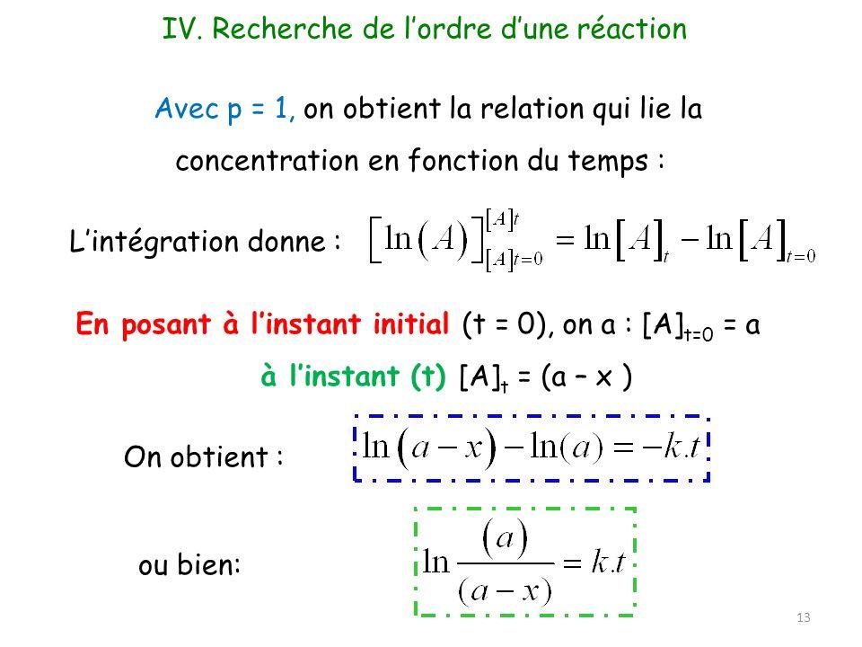 Avec p = 1, on obtient la relation qui lie la concentration en fonction du temps : Lintégration donne : En posant à linstant initial (t = 0), on a : [