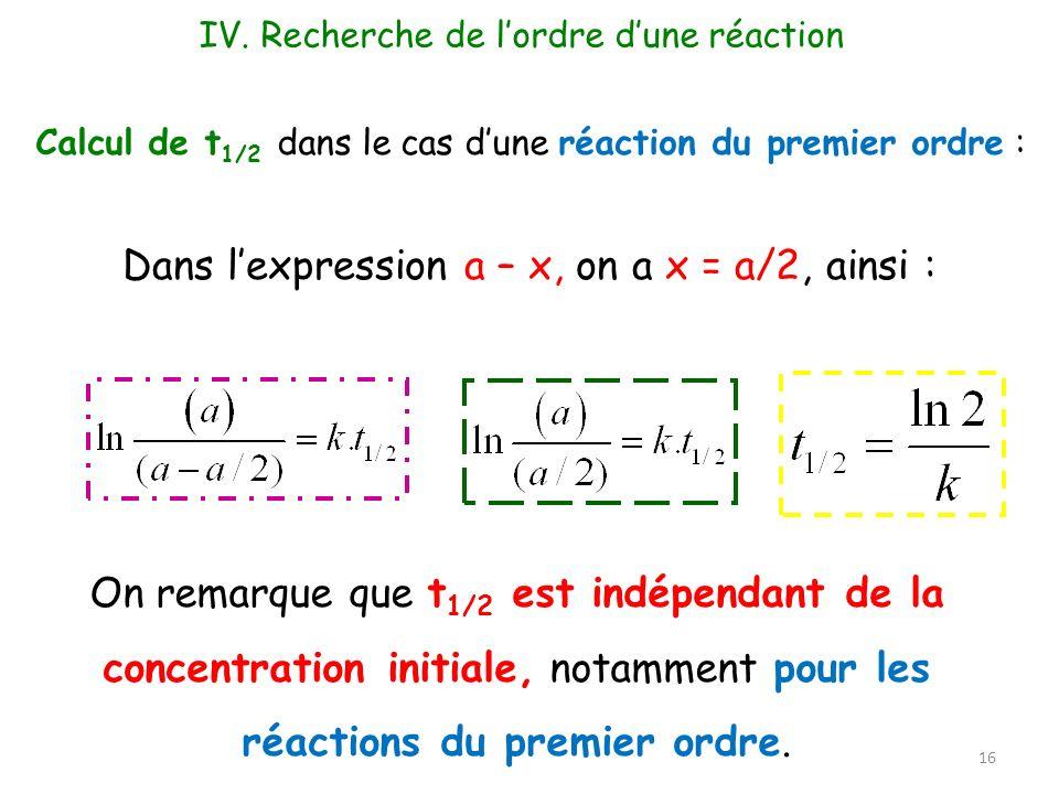 Calcul de t 1/2 dans le cas dune réaction du premier ordre : Dans lexpression a – x, on a x = a/2, ainsi : On remarque que t 1/2 est indépendant de la