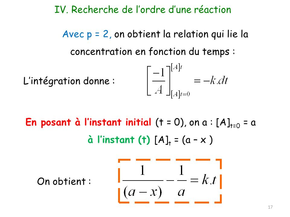 Avec p = 2, on obtient la relation qui lie la concentration en fonction du temps : Lintégration donne : En posant à linstant initial (t = 0), on a : [